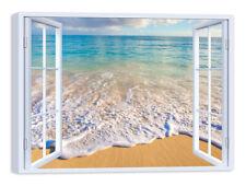 Quadro Stampa su Tela con Telaio in Legno Arredamento Finestra spiaggia mare
