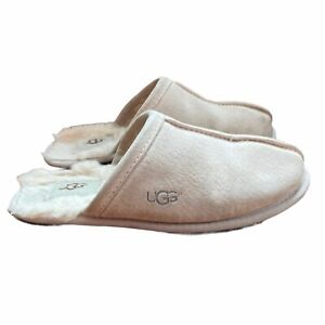 Ugg Scuff Slippers Slides Women's Size 7 Cream Suede Wool Fur Lined Slip-on A23