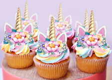 12 STAND UP UNICORN GOLD HORN EARS EDIBLE FAIRY CUPCAKE CUP CAKE IMAGES TOPPERS