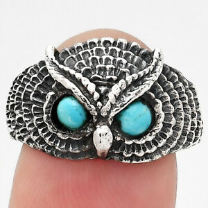 Owl - Natural Rare Turquoise Nevada Aztec Mt 925 Silver Ring s.9 Jewelry 0140