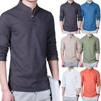 Men's Henley Button T-Shirt Casual Long Sleeve Slim Fit Shirt Tops Tee Plus Size
