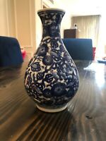 "Vintage Chinese blue & white porcelain 10"" vase Beautiful Shape Pristine Painted"