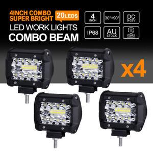 4x 4inch 200W CREE LED Work Lights Spot Flood Light Bar Reverse 4WD 12V 24V OZ