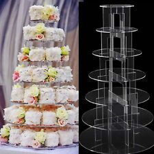 7 Tier Round Clear Acrylic Cupcake Stand Party Wedding Party Cup Cake Holder