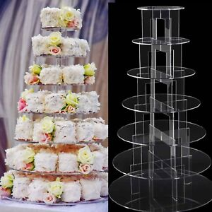 7 tier Clear Acrylic Round Cupcake Stand Wedding Party Cup Cake Stand Display UK