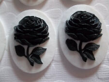 40X30mm Black Rose Cameos - Flower on White - Resin Cabochons - Qty 6