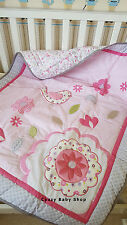 Baby Bedding Set Crib Cot Nursery Bumper Quilt Nappy Stacker PINK FLOWERS 7pc