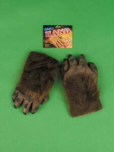 Brown Werewolf Hairy Hands Gloves Adult Costume Accessory