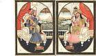 Mughal Miniature Painting Emperor Shah Jahan Empress Mumtaz Mahal Rare Mogul Art