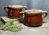 2 Vintage McCoy Two Handle Soup Bowl Mug Cup Brown Drip Glaze French Onion Crock