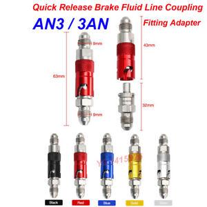 3 AN AN3 CNC Aluminum Quick Release Brake Fluid Line Coupling Fitting Adapter