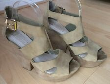 TOPSHOP WOMENS BEIGE LEATHER HIGH HEEL PLATFORM SANDALS SHOES SIZE UK 7 EU 40