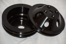 BLACK Aluminum 283 305 350 Chevy 1 2 Groove Long Water Pump & Crankshaft Pulley