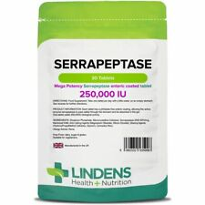 Lindens Serrapeptase 250,000IU 3-PACK 90 tablets high strength enteric coated