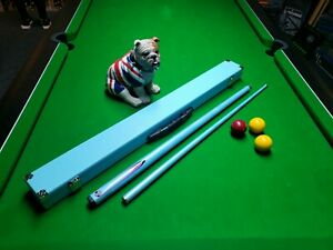 Pool Snooker Cue Ocean Blue With Matching Hard Case 2 piece cue NEW