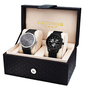 New Men's Akribos XXIV AK737-1 Quartz Chronograph Strap/Bracelet Watch Set