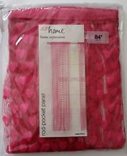 "FOUR 36""X84"" JCP Home Valentine Sheer Rod Pocket Curtains Hot Rose Pink Hearts"