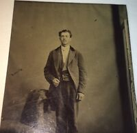 Antique Victorian American Fashion Handsome Man, Watch Chain Tintype Photo! US!