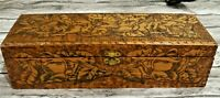Beautiful Trap Art Light Weight Wooden Hankie Box w Floral Engraving Dated 1902