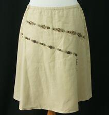 J Jill Womens Linen Skirt MP NWT Coconut Buttons Lined Medium Petite New