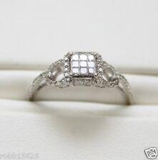 10KWG Size 8.5 Princess & Round Diamond Illusion Halo Cluster Engagement Ring