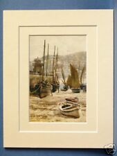 ST. IVES HARBOUR CORNWALL VINTAGE DOUBLE MOUNTED HASLEHUST PRINT c1930 10X8 NICE