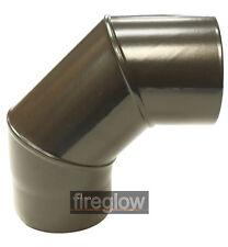 """6"""" (150mm) Diameter 90 Degree Elbow / Bend Vitreous Enamel Flue Pipe Black"""