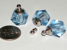 1 Tiny Perfume oil vial pendant mini bottle charm Blue crystal w/ SCREW CAP top