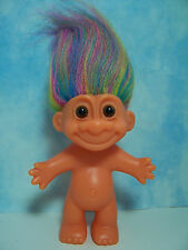 """ORANGE GLO TROLL WITH RAINBOW COLORED HAIR - 5"""" Russ Troll Doll - EXCELLENT"""