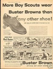1954 Buster Brown Official Oxford Boy Scout Shoes Cartoon LARGE Print Ad