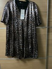 Zara Trf S 8 10 Sequin Mini Dress Animal Print Gold Party Christmas New