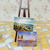 Wooden Easel With Two Paintings 1/12 Dollhouse Miniature Tackle Toy Doll  Gift
