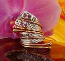 Ring Kobra Schlange Sterling Silber 925 Fassung zweifarbig Augen aus Kunzit rosa