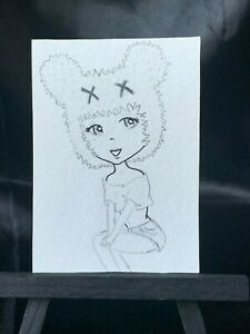 ACEO Original Cute Mouse EDM Medium Black Ink Marker And Pencil on Paper Signed