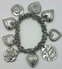 Guess Bracelet Ladies Gorgeous Expandable With Charms Heart Flowers #