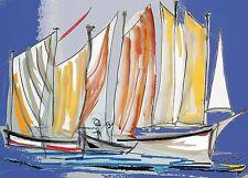 Tableau, peinture, contemporain, Escale à Sète, voilier, voile, bateau