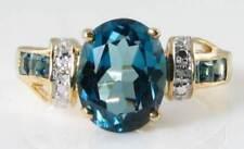 LARGE 9CT 9K GOLD LONDON BLUE TOPAZ & DIAMOND ART DECO INS RING Size J