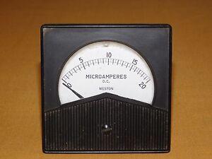 VINTAGE WESTON MICROAMPERES DC METER