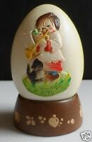 Vintage 1979 Ferrandie by Anri Italy Hand Carved and Painted Egg w/Stand Girl