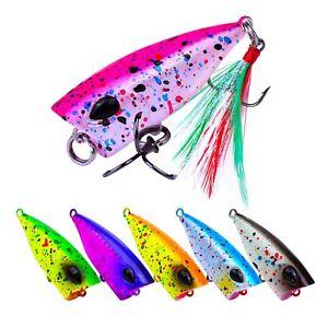 6PCS Topwater Popper Fishing  Minnow Fish Bass lure hook baits 4.3cm/4g