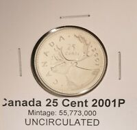 2001p Canada Quarter - UNCIRCULATED - from original mint roll