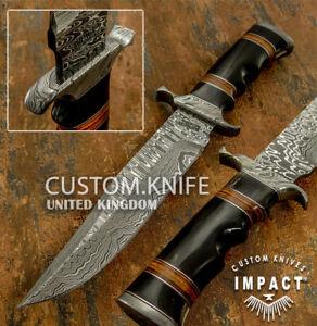 IMPACT CUTLERY RARE CUSTOM DAMASCUS BOWIE KNIFE BULL HORN HANDLE