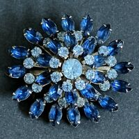Vintage Large Shades of Blue Brooch Pin - Juliana Style -  Navettes Rhinestones