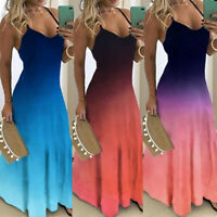 Women Gradient Long Maxi Dress Party Evening Strappy Summer Beach Swing Sundress