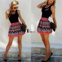 Women Printed Lace Skater Flared Skirt Dress Evening Party Cocktail Mini Dress