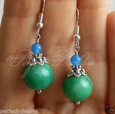Natural green jade & Blue Agate multi gemstone earrings 925 sterling silver hook