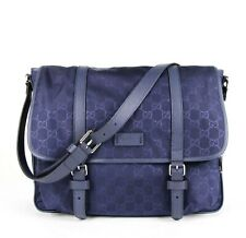 Gucci Blue Monogram GG Nylon Medium Messenger Bag 510334 4275