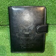 Black Leather Passport Cover Embossed United States Of America Seal W/ Pen