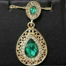 Gorgeous Green Emerald Pendant Chain Necklace Women Wedding Gift Jewelry