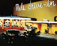 AMERICAN GRAFFITI 8X10 PHOTO CLASSIC MEL'S DRIVE-IN DINER VINTAGE HOT ROD CARS
